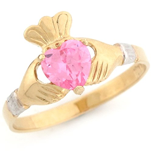 - Jewelry Liquidation 14k Two Toned Gold Claddagh Heart Pink CZ Simulated October Birthstone Ring