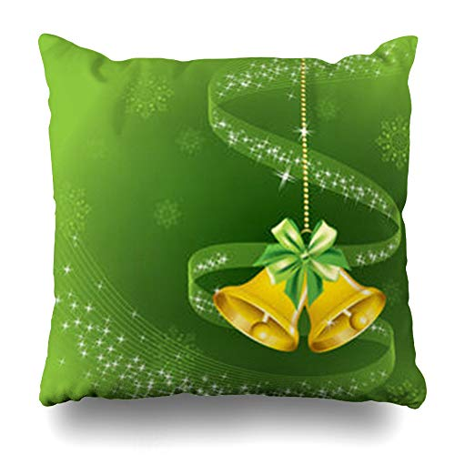 (Ahawoso Throw Pillow Covers Gold Green Star Christmas Holidays Yellow Snowflakes Cool Shine Shiny Abstract Design Merry Home Decorative Cushion Case Square 20