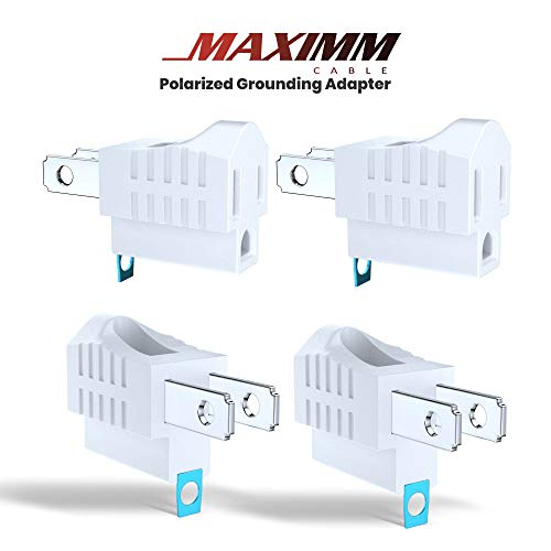 Maximm Polarized Grounding Adapter, 4 Pack, White, 2 Prong Grounding Converter For wall Outlets Plugs, Turn 2-Prong Outlets to 3-Prong Outlets, Easy to Install, Indoor Only, ETL Listed