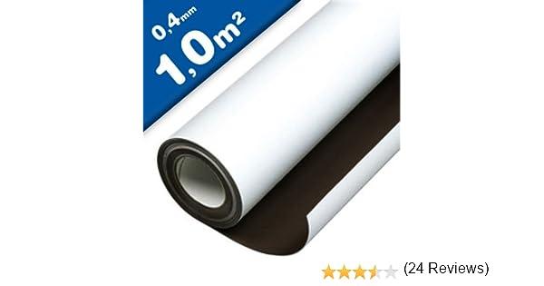 Lámina magnética blanco mate 0,4mm x 1m x 1m - crear imanes personalizados, adhiere a todas superficies metálicas: Amazon.es: Hogar