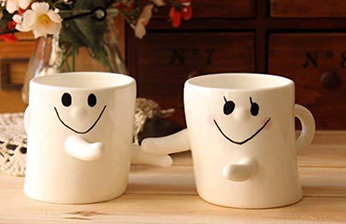 (Buyneed 300ml Happy Hug Couples Coffee Milk Ceramic Mug Cup Christmas Birthday Best Gift,Set of 2)