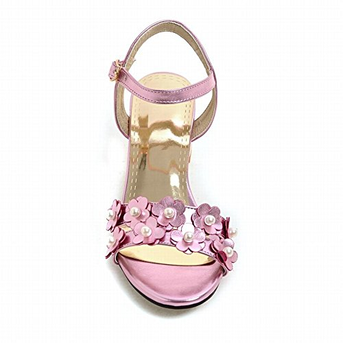 Femmes Chaussures Talon Chaussures Pourpre Bride La À Mee Boucle Rose De Cheville Sandales Chics Mi 7wdPSqv