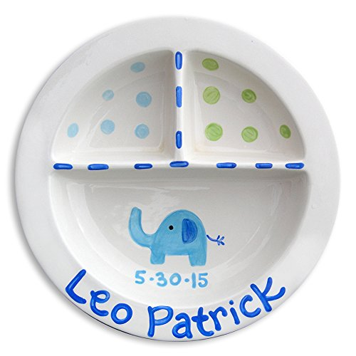 Baby ceramic plate, Personalized baby gift, Hand painted baby keepsake, Little Worm and Company