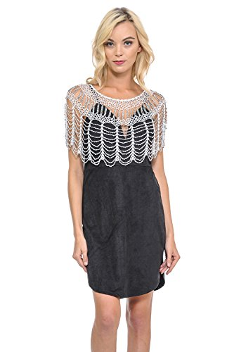 (Lydia USA Sexy Metallic Beaded Web Styles Shawl Crochet Poncho Short Cape Flapper Top (Free,)