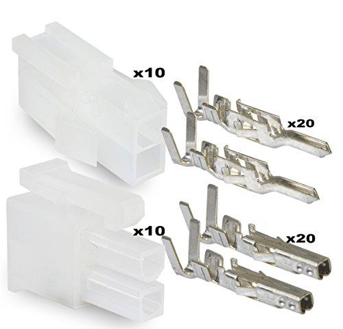 Molex 2 Pin Connector Lot, 10 Matched Sets, w/18-24 AWG w/ Pins Mini-Fit Jr