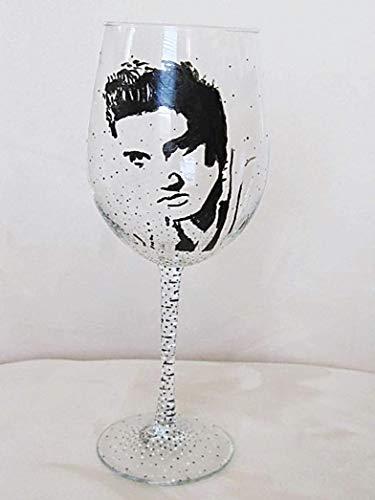 (ELVIS PRESLEY Hand Painted Wine Glass)