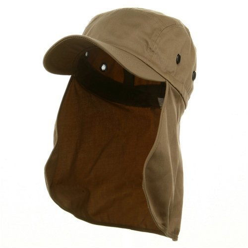 Flap Hat (03)-Khaki one size W15S46D (E4hats Cotton Flap Hat)