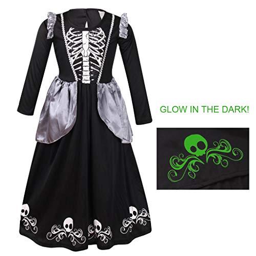 Meeyou Girls Skeleton Costume,Glow in Dark Halloween