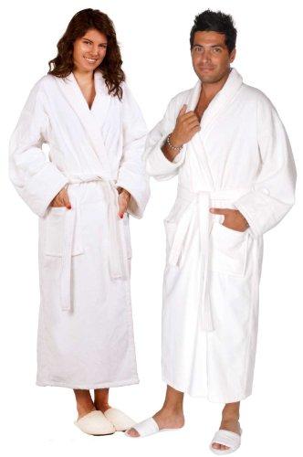 Soft Touch Linen 100% Turkish Cotton Terry Velour Bathrob...
