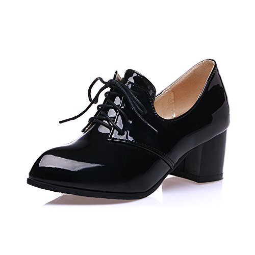 Heels Lace Leather Patent - Lucksender Womens Vintage Style Patent Leather Mid Chunky Heel Lace Up Oxford Shoes 8B(M)US A-Black