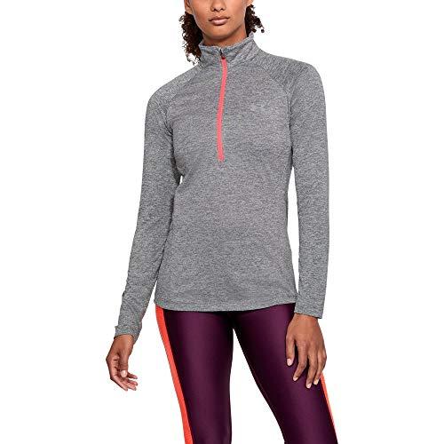 (Under Armour womens Tech Twist ½ Zip Long Sleeve Pullover, Graphite (040)/Metallic Silver, Medium)