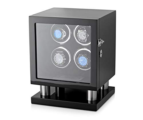 Watch Winder for 4 Watches with LED Backlight, LCD Display and Motor-Stop Option (Black & Black)