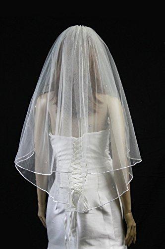 Wedding Veil Bridal 2T Diamond Off White Fingertip Rhinestone Satin Rattail Trim