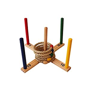 Ring Toss Set - Quoits Game for Kids & Adults - Indoor or Outdoor Game with Rope Rings - Boys & Girls Can Play This Fun Lawn Game at BBQ, Tailgating Parties