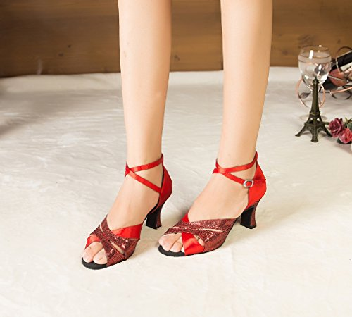 Red Heel Satin Chunky High Cha Cha Dance Shoes Women's Minitoo Glitter WtHnxPqvZ