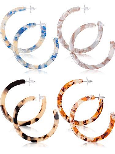 Jetec Acrylic Resin Earrings for Women Tortoise Shell Hoop Earring Mottled Bohemian Drop Dangle Statement Fashion Round Circle Lightweight (Style C)