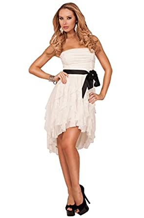 Strapless Straight Neck Gathered Ruched Empire Waist Ruffle Layers Party Dress