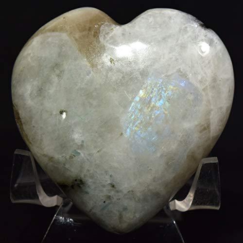 60mm Rainbow Moonstone Puffy Heart Natural Blue Flash Feldspar Mineral Polished Sparkling Crystal Love Gemstone Heart - India + Acrylic Display Stand