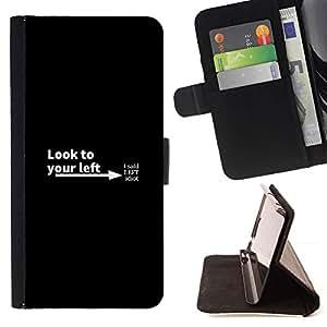 Momo Phone Case / Flip Funda de Cuero Case Cover - Mira a su izquierda - Samsung Galaxy S6 Edge Plus / S6 Edge+ G928