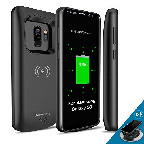 Newdery Upgraded Samsung Galaxy S9 Battery Case Qi Wireless Charging Compatible, 4700mAh Slim Rechargeable Extended Charger Case Compatible Samsung Galaxy S9 (5.8 Inches Black)