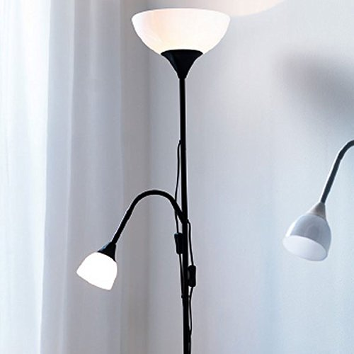 Amazon modern floor lamp with adjustable reading light black amazon modern floor lamp with adjustable reading light black frame white shades 2 bulbs included home improvement aloadofball Images