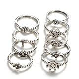 super1798 9Pcs/Set Women Retro Boho Tree of Life Anchor Star Knuckle Midi Stacking Ring - Antique Silver