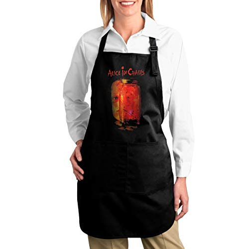SY COMPACT Alice in Chains Jar Flies Adjustable Bib Apron with Pocket Extra Long Ties Baking Aprons for Mens & Women for $<!--$33.69-->
