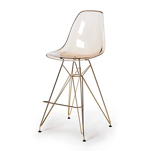 Molded Acrylic Counter Stool - Translucent Amber Seat and Gold Finish Legs (Bar Modern Acrylic Stool)