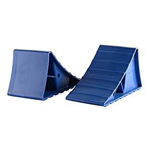ALEKO WCR162 RV / Trailer or Automobile Leveling Block Wheel Chock in Blue, Set of 2