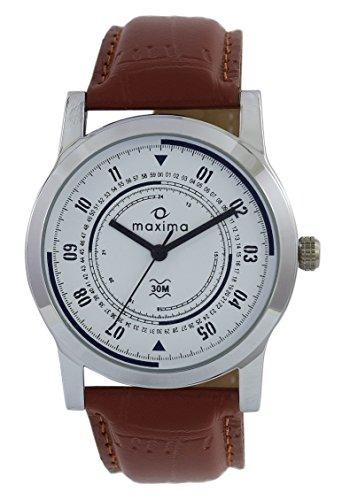 Maxima Analog White Dial Men's Watch-44687LMGI