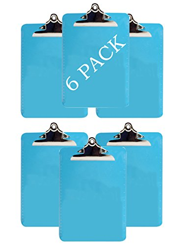 Clipboard Letter Size 9-x-12.5 inch Letter Size - With Sturdy Metal Clip - Made Of Durable Plastic - 6 Pack - (Blue) ()