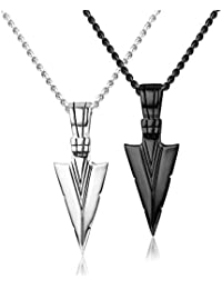 Stainless Steel Pendant Necklace for Mens Boys Cool Spearpoint Arrowhead Pendant Chain Necklace Set Black & Silver Tone