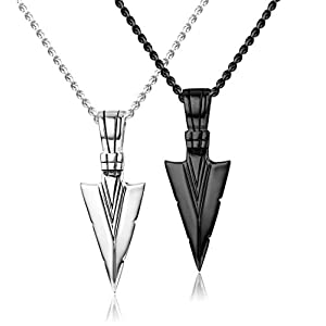 Jstyle Stainless Steel Pendant Necklace for Mens Boys Cool Spearpoint Arrowhead Pendant Chain Necklace Set Black & Silver Tone