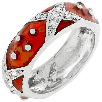 (Freedom Fashion Marbled Ruby Red Enamel Ring)