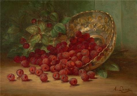 Oil Painting 'August Laux,Raspberries,1880' Printing On Polyster Canvas , 10x14 Inch / 25x36 Cm ,the Best Living Room Decoration And Home Artwork And Gifts Is This Replica Art DecorativeCanvas Prints