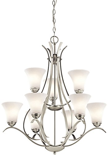 (Kichler 43506NI Keiran Chandelier 9-Light, Brushed Nickel)