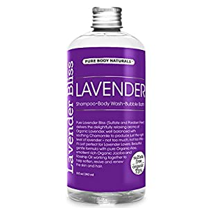 Lavender 3-in-1 Shampoo / Body Wash / Bubble Bath, Calming and Rejuvenating, Safe for Kids by Pure Body Naturals, 8 Fl. Ounce