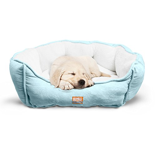 Animal Planet Round Plush Micro Suede & Sherpa Bolster Pet Bed for Dogs & Cats, Puppies, and Small & Toy Breeds; Cuddly and Warm for Burrowing and Snuggling, Easy-to-Clean 24x 17x 9 Teal ()
