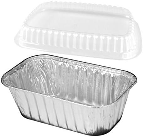 25 Set Handi-Foil 1 lb Aluminum Foil Mini-Loaf//Bread Baking Pan w//Clear Low Dome Lid by Handi-foil