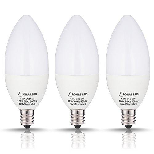 LOHAS Candelabra LED Bulbs, 60 Watt LED Light Bulbs Equivalent Daylight (5000K) E12 Bulb, Candelabra Base,...