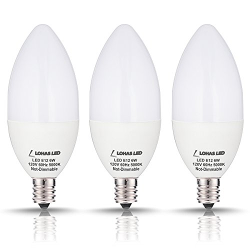 LOHAS LED Candelabra Bulb E12, Daylight 60W Light Bulbs Equivalent, 6W 5000K Candelabra Base LED, Fix for Kitchen Dinning Room Ceiling Fan Fixture Lights, 550LM, Not Dimmable Home Lighting(3 Pack)