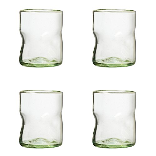 Amici Home, A7MCR063S4R, Ensenada Collection Double Old Fashioned Drinking Glass, Mexican Artisan Handmade Glassware, Recycled Glass, Dishwasher Safe, Clear Set of 4, 12 Ounces ()