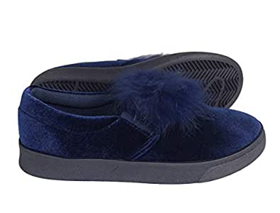 Peach Couture Juniors Wedge Double Decker Suede Faux Fur Flat Platform Shoes Lace Up Cute Sneakers (Kids 5-10yrs.) Blue Size: 1