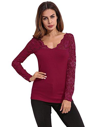 StyleDome Blusa Camiseta Casual Elegante Verano Algodón Encaje Cuello V para Mujer Gordita Burdeos