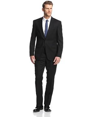 Men's Slim Fit 2 Button Side Vent Solid Suit, Black, 48 Regular