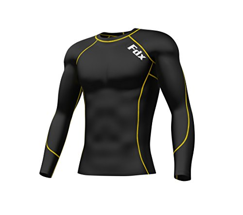Price comparison product image FDX Boys' Compression Armour Base Layer Top Long Sleeve Thermal Multi Sport Shirt Black/Yellow Boy XL Age 12-14 Years