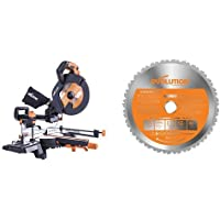 Evolution R255-SMS+ Multi-Material Sliding Mitre Saw with Plus Pack, 255 mm (230 V) with RAGE Multi-Purpose Carbide-Tipped Blade, 255 mm