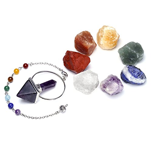 (CrystalTears 7 Chakra Healing Crystals Kit,Amethyst Pyramid Crystal Energy Generator Pendulum,Rough Stones for Reiki, Meditation,Dowsing Divination)