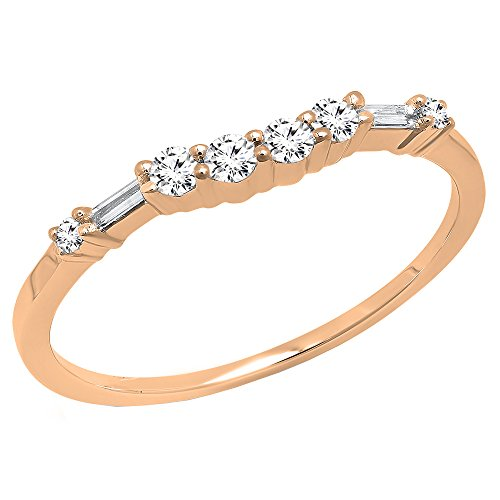 0.22 Carat (ctw) 14K Rose Gold Round & Baguette Diamond Ladies Wedding Band 1/4 CT (Size 4.5)