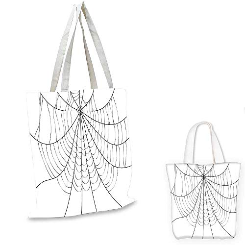 Spider Web royal shopping bag Close Up Cobweb Design Monochrome Design Elements Catching Network Fear pocketable shopping bag Grey Black White. 14